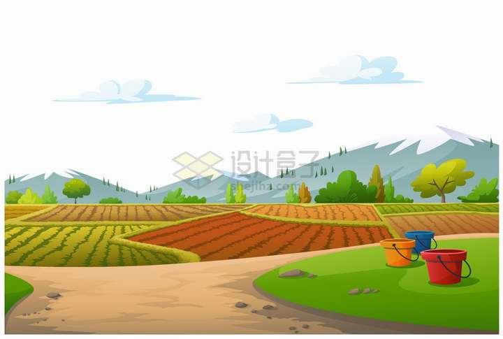 远处的大山和近处的农田风景png图片免抠矢量素材