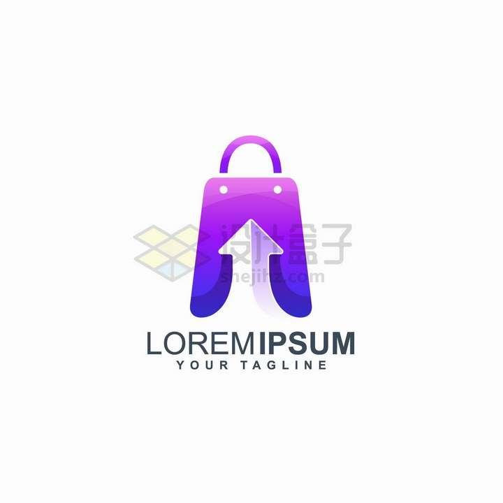 带箭头的卡通购物袋销售公司logo设计png图片免抠矢量素材