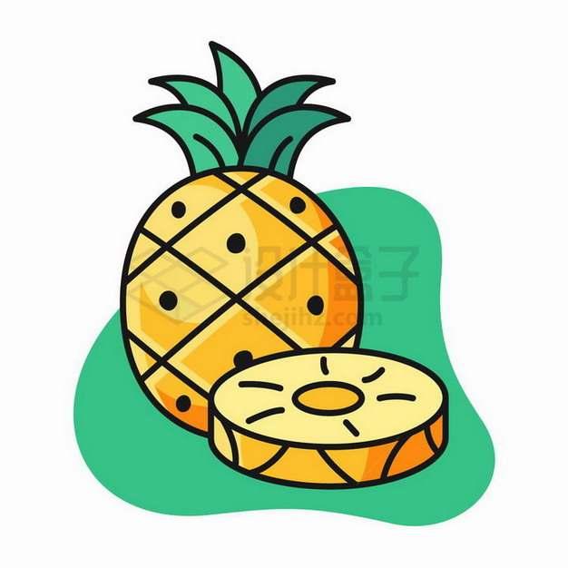 卡通菠萝美味水果png图片免抠矢量素材