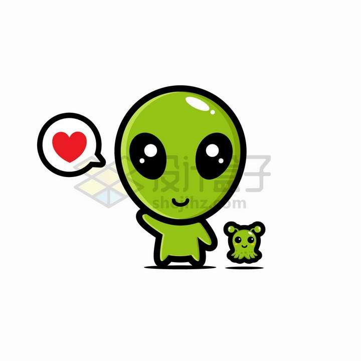 超可爱大头绿色卡通外星人和宠物png图片免抠矢量素材