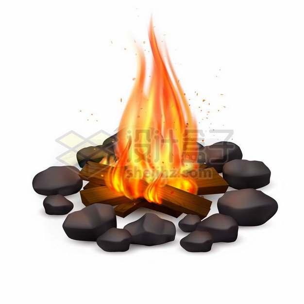 燃烧着大火的篝火木头火焰效果680641png图片素材