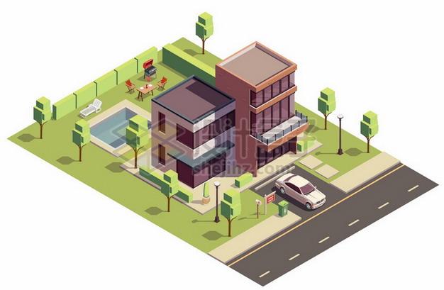 2.5D风格别墅建筑png图片素材 建筑装修-第1张