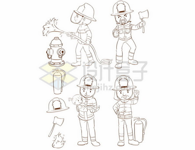 卡通消防员手绘线条插画302832 png图片素材 人物素材-第1张