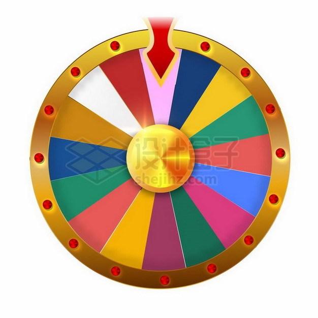带指针的彩色抽奖转盘png图片免抠矢量素材 休闲娱乐-第1张