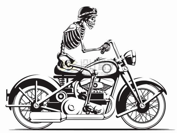 人体骷髅骑着摩托车手绘插画png图片免抠矢量素材