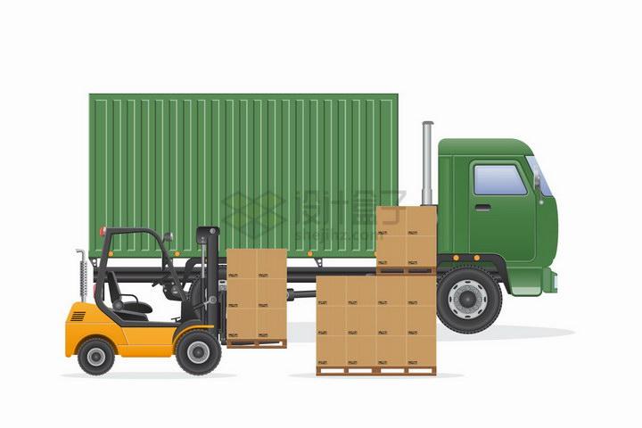 绿色卡车旁边的黄色叉车正在搬运货物png图片免抠矢量素材 交通运输-第1张