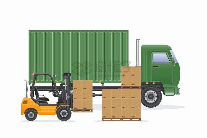绿色卡车旁边的黄色叉车正在搬运货物png图片免抠矢量素材