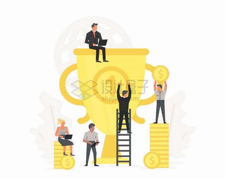 爬梯子到金杯奖杯上的商务人士销售冠军扁平插画png图片免抠矢量素材