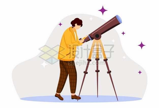 卡通女孩用天文望远镜png图片素材