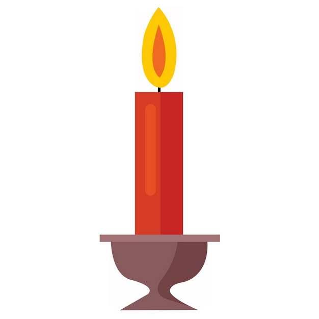 烛台上的红色蜡烛扁平插画9934534png图片素材