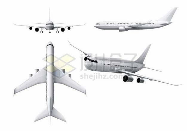 银白色大型客机飞机四视图309383 png图片素材