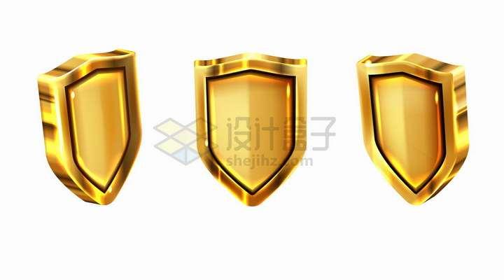 不同角度的金属金色光泽盾牌防护盾png图片免抠矢量素材