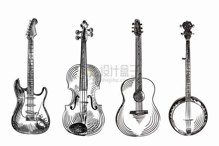 贝斯大提琴吉他弦乐器等手绘素描西洋乐器png图片免抠矢量素材