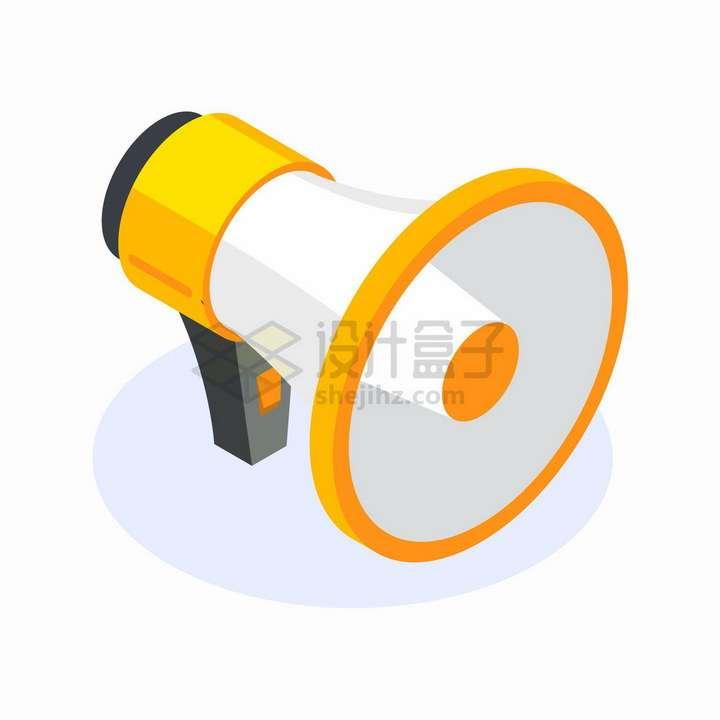 黄色的卡通大喇叭扬声器png图片免抠矢量素材