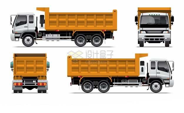 渣土车拉土车卡车四视图681219png图片素材