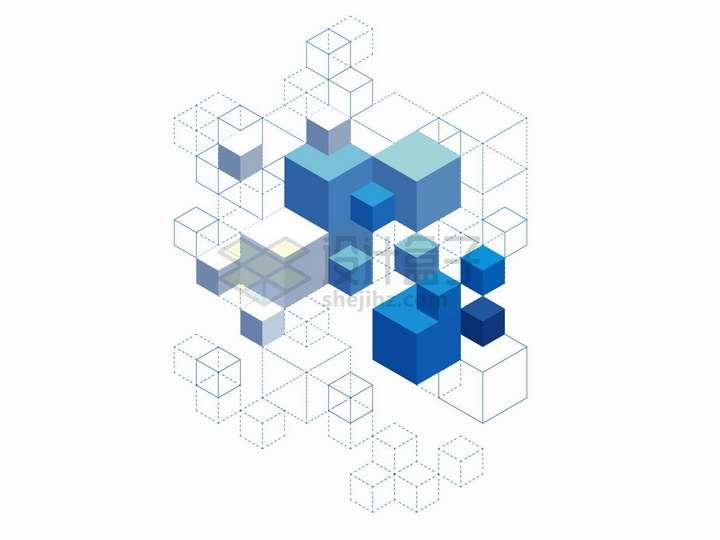 抽象蓝色立方块和虚线立方体png图片免抠矢量素材