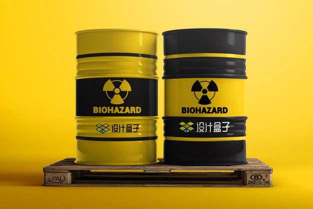 木制托盘上的两个汽油桶核废料桶psd样机图片模板素材