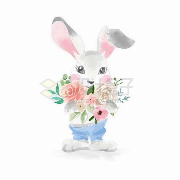 拿着各种鲜花的卡通小兔子png图片免抠矢量素材