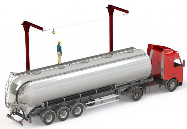 槽罐车油罐车危险品运输卡车工作示意图510595png图片素材