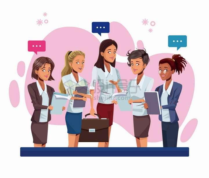 女老板正在向员工交代工作商务人士插画png图片免抠矢量素材