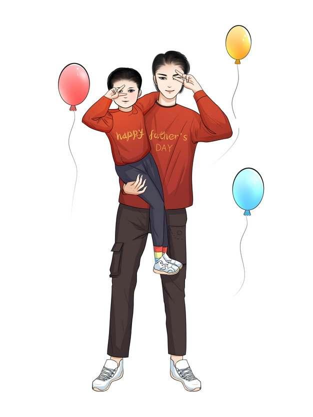彩绘抱着孩子的年轻爸爸父亲节894017png图片素材