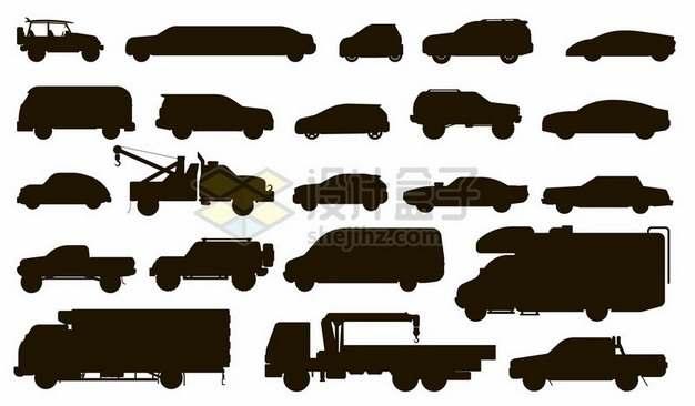 各种汽车剪影png图片素材