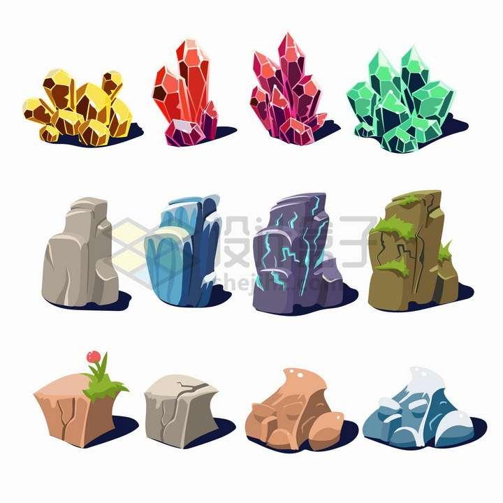 12款卡通水晶和石头png图片免抠矢量素材