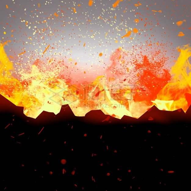 燃烧着火焰的纸张灰烬特效果232692png图片素材