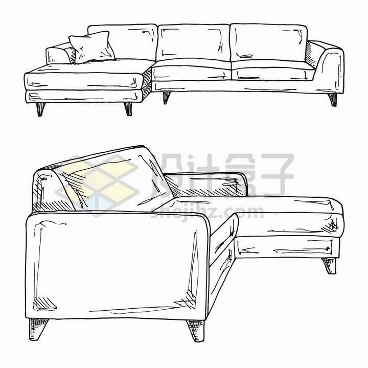 手绘素描风格两套客厅组合沙发家具png图片免抠矢量素材