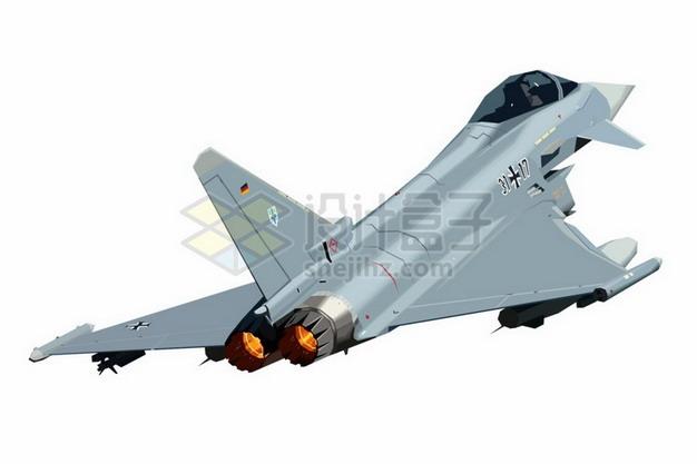 喷出尾焰的德国EF-2000台风战斗机png免抠图片素材 军事科幻-第1张