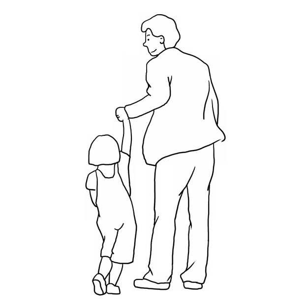 爸爸拉着女儿的手父亲节线条插画419303png图片素材