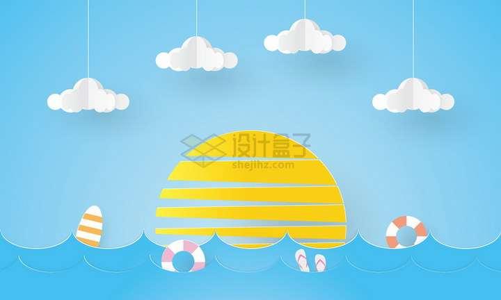 剪纸叠加风格大海日出和白云png图片免抠矢量素材