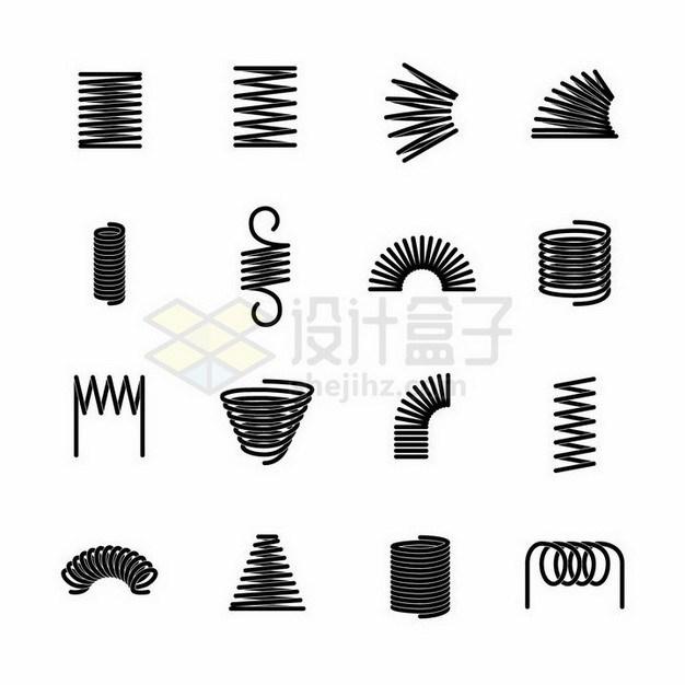 16款不同形状的黑色弹簧png图片免抠矢量素材 线条形状-第1张