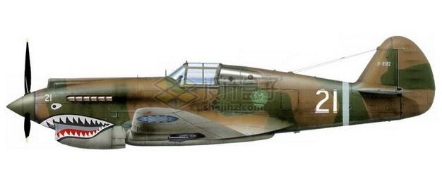 二战中的德国BF-109战斗机侧视图png免抠图片素材 军事科幻-第1张