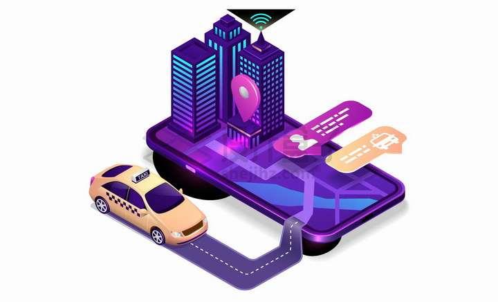 2.5D风格智能出租车打车软件png图片免抠矢量素材