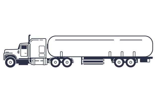 线条槽罐车油罐车危险品运输卡车特种运输车侧视图599535png图片素材