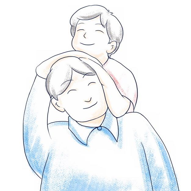 儿子趴在爸爸头上幸福亲子关系父亲节插画514694png图片素材