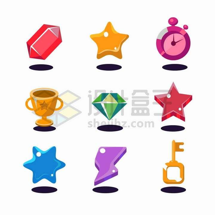 9款卡通风格宝石五角星奖杯等png图片免抠矢量素材
