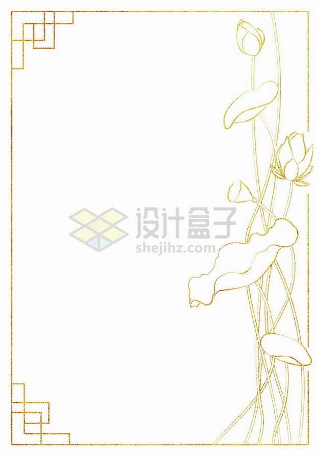 金色荷花荷叶边框974302png免抠图片素材