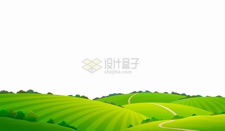 卡通绿色的田野青青草原风景图png图片免抠矢量素材 生物自然-第1张