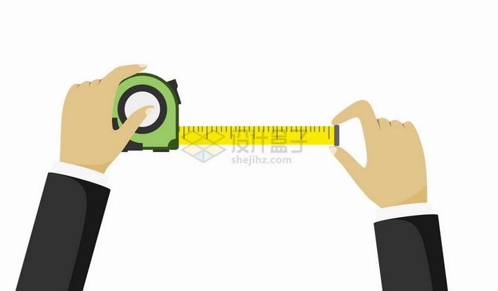 扁平化风格用卷尺测量的双手png图片免抠矢量素材 生活素材-第1张