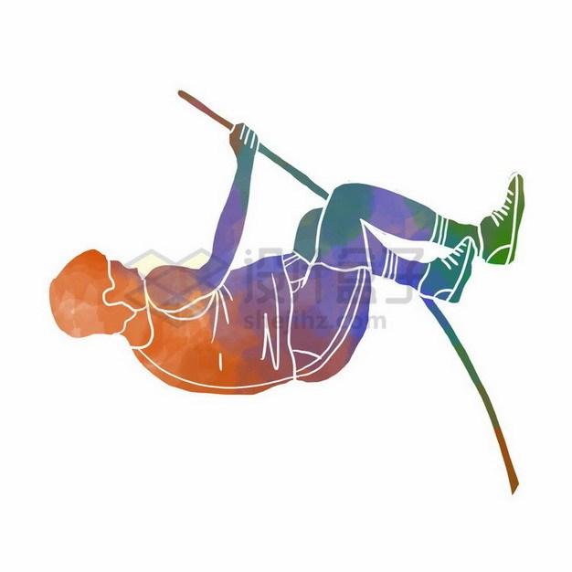 撑杆跳彩色涂鸦365198png免抠图片素材 人物素材-第1张