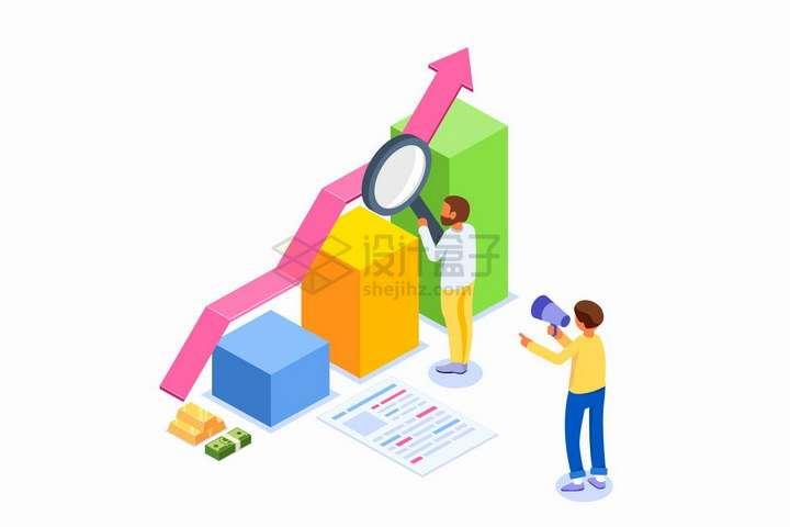 2.5D风格商务人士拿着放大镜检查数据增长柱形图png图片免抠矢量素材