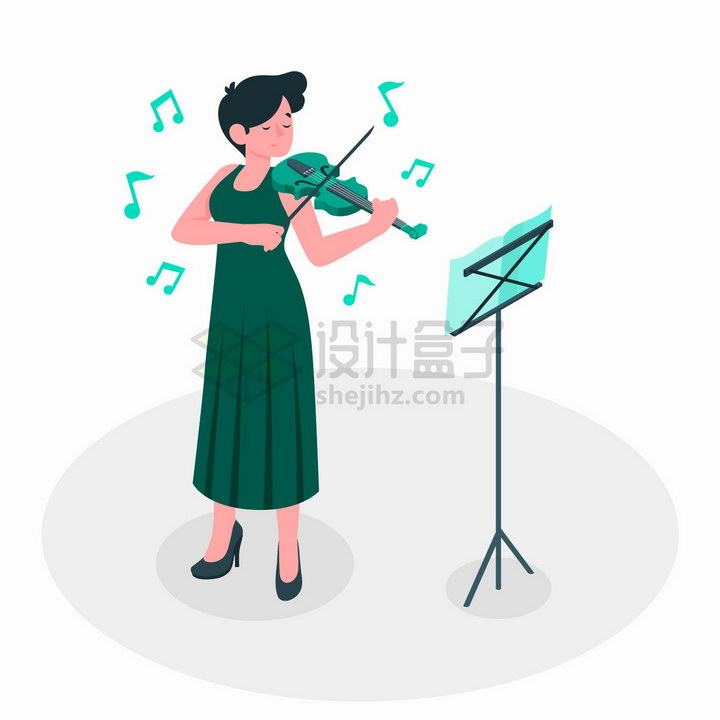 正在弹奏小提琴的女孩扁平插画png图片免抠矢量素材 人物素材-第1张