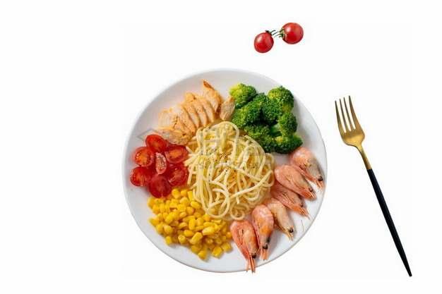 盘子中的盐焗虾面条玉米粒西兰花鸡胸肉等减肥餐png免抠图片素材
