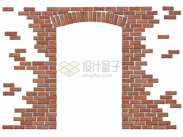 砖块建造的大门png图片矢量图素材