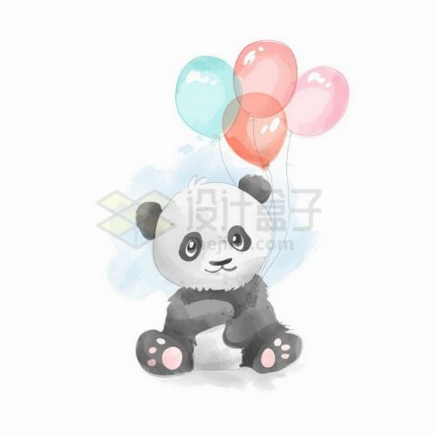 拿着彩色气球的卡通大熊猫png图片免抠矢量素材