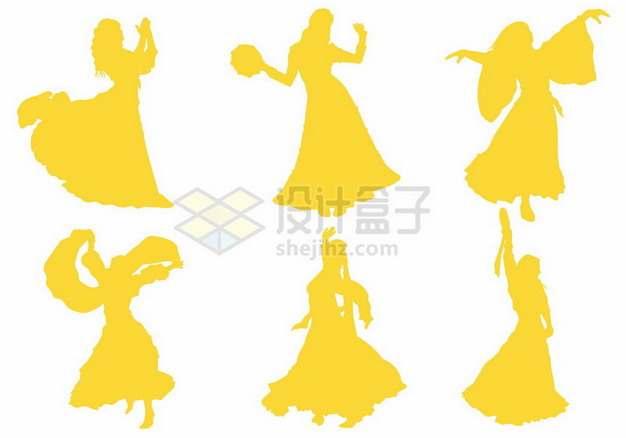 6款跳舞的舞女黄色人物剪影190285png图片素材
