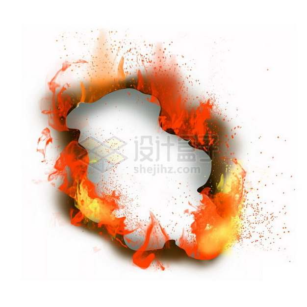 燃烧着火焰的纸张特效果3437678png图片素材