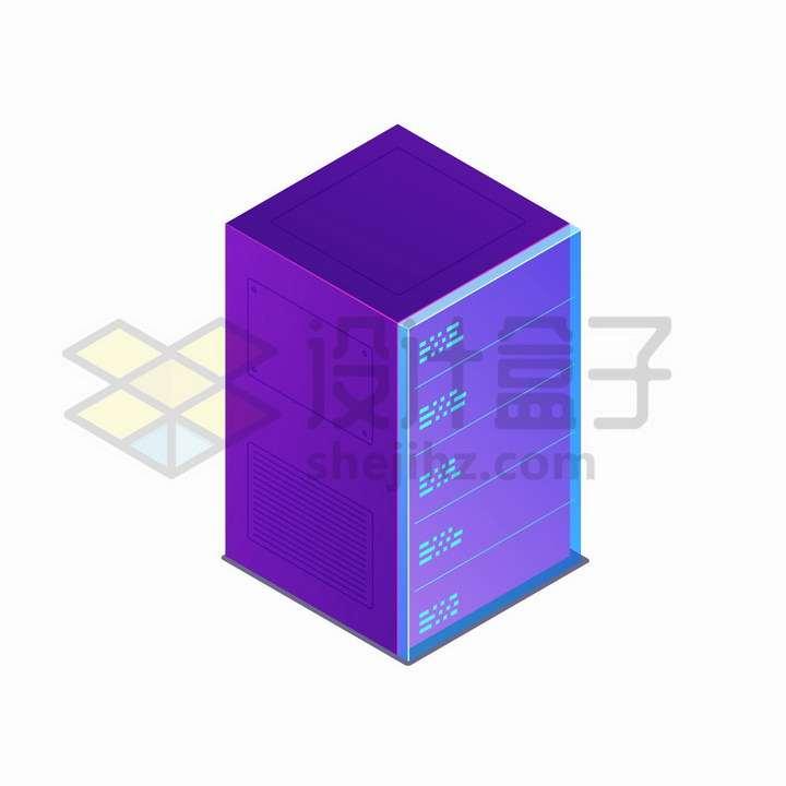 2.5D风格紫色服务器png图片免抠矢量素材